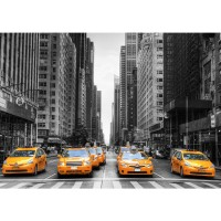 Fototapete Manhattan Tapete Manhattan Skyline Taxis City Stadt Skyscapers grau | no. 210