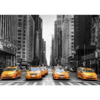 Fototapete Manhattan Tapete Manhattan Skyline Taxis City Stadt Skyscapers grau | no. 210