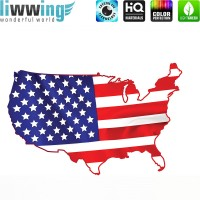 Wandsticker - No. 4621 Wandtattoo Sticker Wohnzimmer Flagge USA Amerika Landkarte New York Stars and Stripes