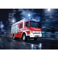 Fototapete Skylines Tapete Feuerwehr Auto Nacht Lichter rot | no. 535