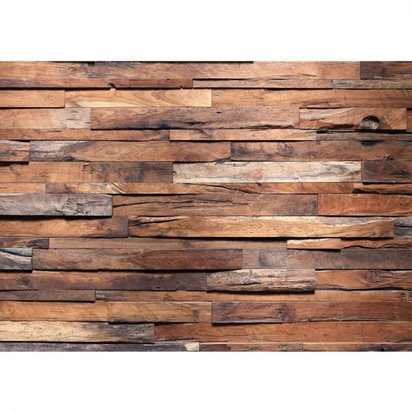 Fototapete Holz Tapete Holzwand Steinoptik Holz Wand Mauer Holztapete braun | no. 174