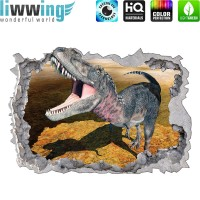 Wandsticker - No. 4771 Wandtattoo Sticker Durchblick Durchbruch Aussicht Dinosaurier Dinos TRex