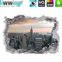 Wandsticker - No. 4775 Wandtattoo Sticker Durchblick Durchbruch Aussicht Skyline Hochhaus