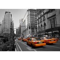 Fototapete Manhattan Tapete Manhattan Skyline Taxis City Stadt braun | no. 194