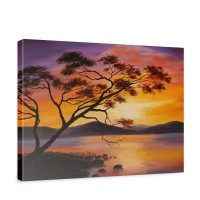 Leinwandbild Sonnenuntergang Baum Natur Romantisch Urlaub | no. 241