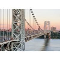 Fototapete New York Tapete Skyline Brücke Bridge Sonnenuntergang beige | no. 187
