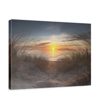 Leinwandbild North Sea Sunset Strand Meer Ostsee Beach Blau Himmel Sonne Sommer | no. 74