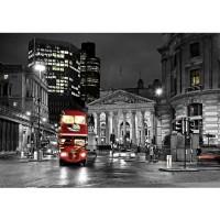 Fototapete London Tapete London Bus Lightning Nacht Skyline rot | no. 538