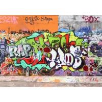 Fototapete Graffiti Stone Wall Kindertapete Tapete Kinderzimmer Graffiti Streetart Graffiti Sprayer 3D bunt | no. 32