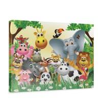 Leinwandbild Jungle Animals Party Kinder Dschungel Zoo Tiere Löwe Affe | no. 13