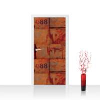 Türtapete - Abstrakt Wand Platten Zahlen Rost | no. 826