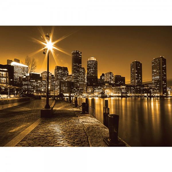 Fototapete New York Tapete Laterne Nacht Skyline Lichter Fluss gelb   no. 861