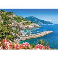 Fototapete Meer Tapete Hafen, Mittelmeer, Yachten, Berge bunt | no. 3294