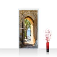 Türtapete - Natur Antik Bogen Tür Palmen Meer Bäume Stein | no. 4265