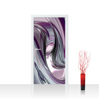 Türtapete - Liquid Climax 3D Digital Art Abstrakt Schwung blau rot lila | no. 10