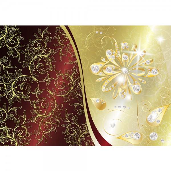 Fototapete Ornamente Tapete Abstrakt Blume Blüte Diamant Schnörkel Schwung Muster gold   no. 552
