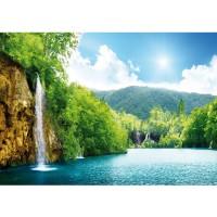 Fototapete Wasser Tapete Wasserfall Bäume Meer Wasser Himmel Sommer Urlaub blau | no. 377