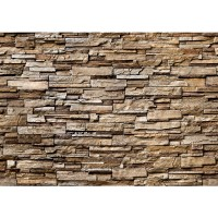 Fototapete Noble Stone Wall - braun - ENDLOS anreihbare Tapete Steinwand Steinoptik Steine Wand Wall braun | no. 133