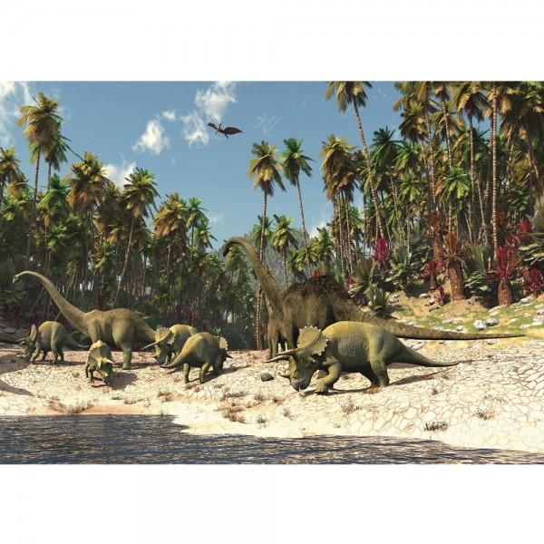 Fototapete Kindertapete Tapete Dinosaurier Strand Palmen Animation grün | no. 447