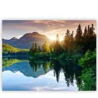 Leinwandbild Mountain Lake View Berge See Sonnenuntergang Romantisch Bäume Wald | no. 51