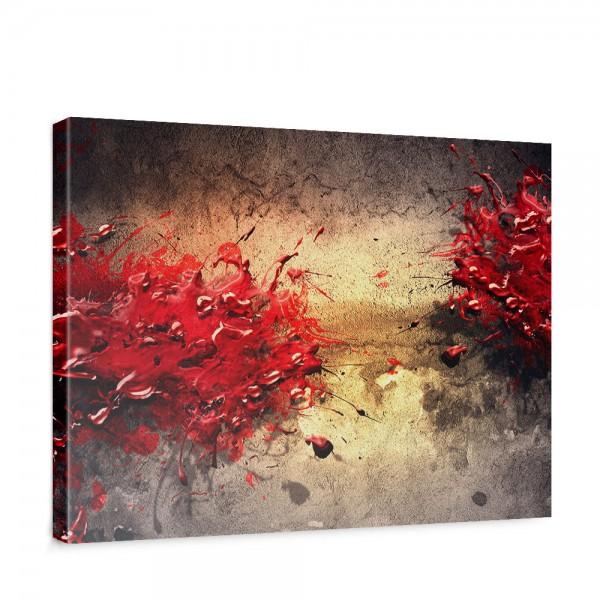 Leinwandbild Paint Splatter Wall abstrakt 3D Wand beige braun Farbspritzer   no. 41