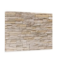 Leinwandbild Asian Stone Wall - beige Steinoptik Steinwand Stonewall Steine | no. 129
