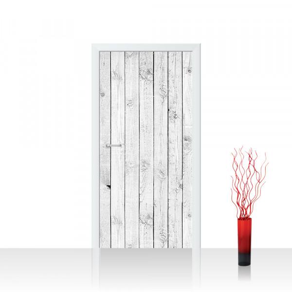 Türtapete - White painted Wooden Wall Holzoptik Holzwand Holzpaneel   no. 85