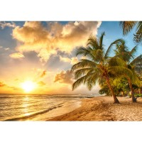 Fototapete Dream Beach Strand Tapete Strand Meer Sonnenaufgang Beach Wasser Blau Himmel Sonne Sommer orange | no. 42