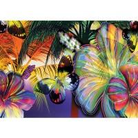 Fototapete Kunst Tapete Abstrakt Blüten Schmetterling bunt | no. 479