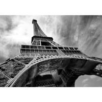 Fototapete Frankreich Tapete Eiffelturm Paris Wolken Vintage grau | no. 635