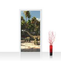 Türtapete - Dinosaurier Strand Palmen | no. 447