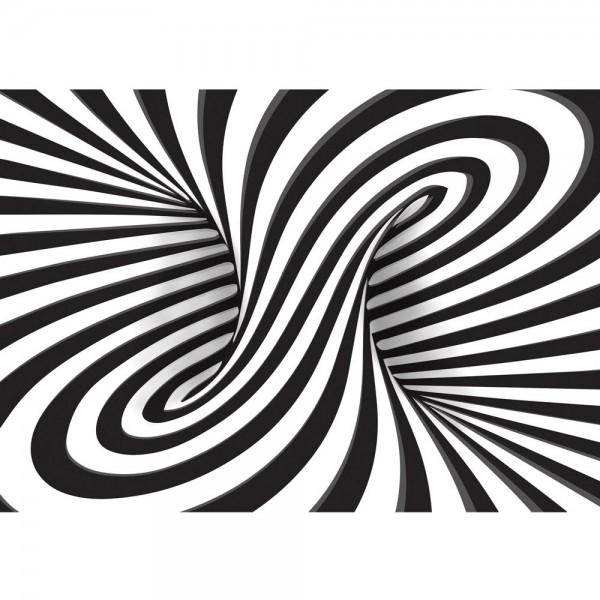 Fototapete 3D Tapete Abstrakt Linien Kreisel 3D schwarz - weiß | no. 648