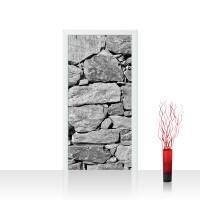 Türtapete - Black and White Stone Wall Steinmauer Steine Steinwand Steinoptik 3D | no. 8