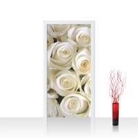 Türtapete - Blumen Rose Blüten Natur Liebe Love Blüte Weiß | no. 184