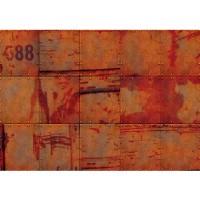 Fototapete 3D Tapete Abstrakt Wand Platten Zahlen Rost Nieten Design 3D rot | no. 826