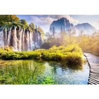 Fototapete Natur Tapete Natur Wasser Sonne Bäume Ausblick gelb | no. 260