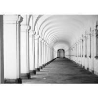 Fototapete Architektur Tapete Arkaden 3D Perspektive Gewölbe Säulen Steinwand rosa | no. 224
