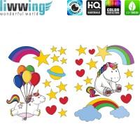 Wandsticker - No. 4766 Wandtattoo Sticker Einhorn Unicorn Pony Herzen Regenbogen Ballons Sterne Herzen
