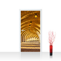 Türtapete - Arched Stone Colonnades Arkaden 3D Gewölbe Säulen Sandstein Steinwand | no. 66