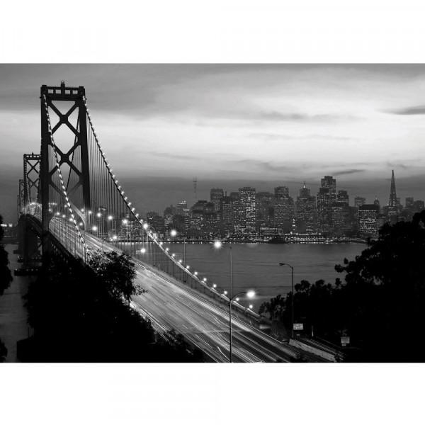 Fototapete USA Tapete Brücke Himmel Lightning San Francisco Skyline Nacht Golden Bridge schwarz-weiß   no. 1010