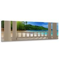 Leinwandbild Terrace View Caribbean Beach Seeblick 3D Strand Meer Sonne Palmen | no. 121