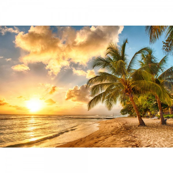 Fototapete Dream Beach Strand Tapete Strand Meer Sonnenaufgang Beach Wasser Blau Himmel Sonne Sommer orange   no. 42