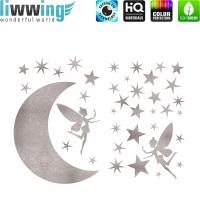 Wandsticker - No. 4739 Wandtattoo Sticker Mond Sterne Fee Feenstaub Glitzersticker silber Glitter