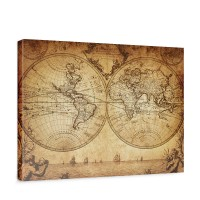 Leinwandbild Vintage World Map Weltkarte Vintage Atlas alte Karte alter Altas | no. 76