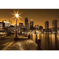 Fototapete New York Tapete Laterne Nacht Skyline Lichter Fluss gelb | no. 861