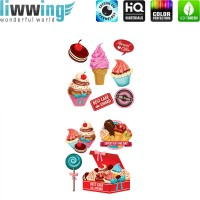 Wandsticker - No. 4808 Wandtattoo Sticker Süßigkeiten Candy Eis Muffin Lolli