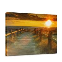 Leinwandbild Sunset Beach Sonnenaufgang Strand Meer Felsen Sunset | no. 64
