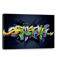 Leinwandbild Kinder Graffiti Malerei bunt Muster Schrift | no. 409