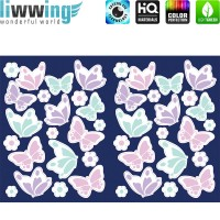 Wandsticker - No. 4758 Wandtattoo Sticker Leuchtsticker Fluoreszierend Neon Schmetterlinge