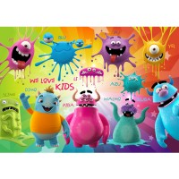 Fototapete Lovely Monsters Kindertapete Tapete Kinderzimmer Kindertapete Comic Party Knuddel Monster bunt | no. 92